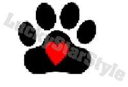 Dog Nail Decals Set of 20   Heart in Black Paw Print