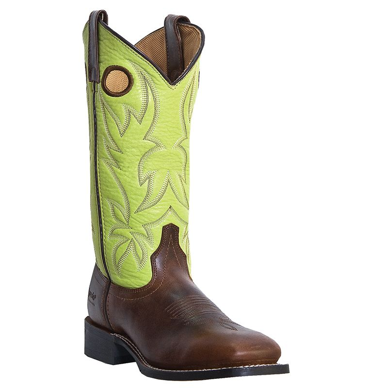 Womens Western Cowboy Boots Tan Foot Green Top Stockman 5616 Size 6 10