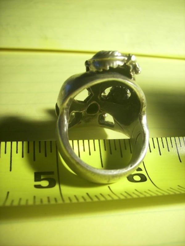 Thick Vintage Sterling Silver Harley Biker Skull Ring Jewelry