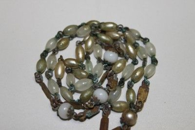 ANTIQUE FRENCH CHRISTIAN ROSARY WITH IVORY BEADS & CROSS 1900s