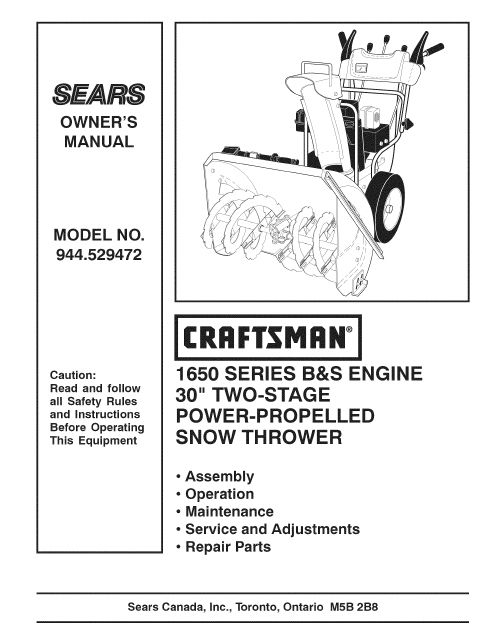 Craftsman Snow Thrower Parts Manual : Owners manual for craftsman snow thrower share the