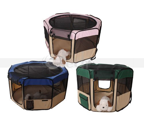 New Pet Dog Cat Tent Puppy Playpen Exercise Play Pen Crate PINK GREEN
