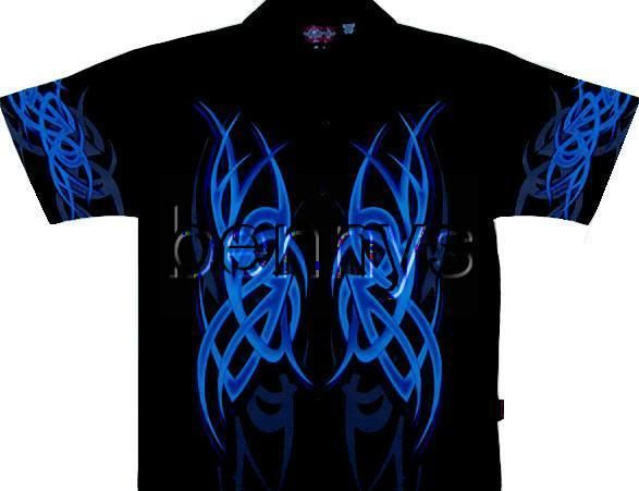 NEW Blue Tribal Flames Biker Shirt, Dragonfly, XXL