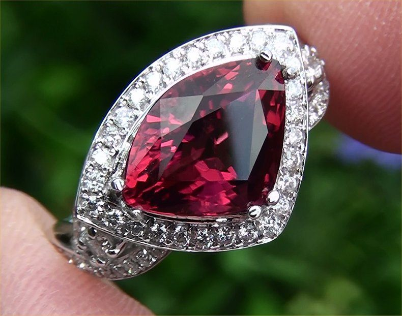 Estate 6.05 ct Unheated Pink Rubellite Tourmaline & Diamond Ring 14k